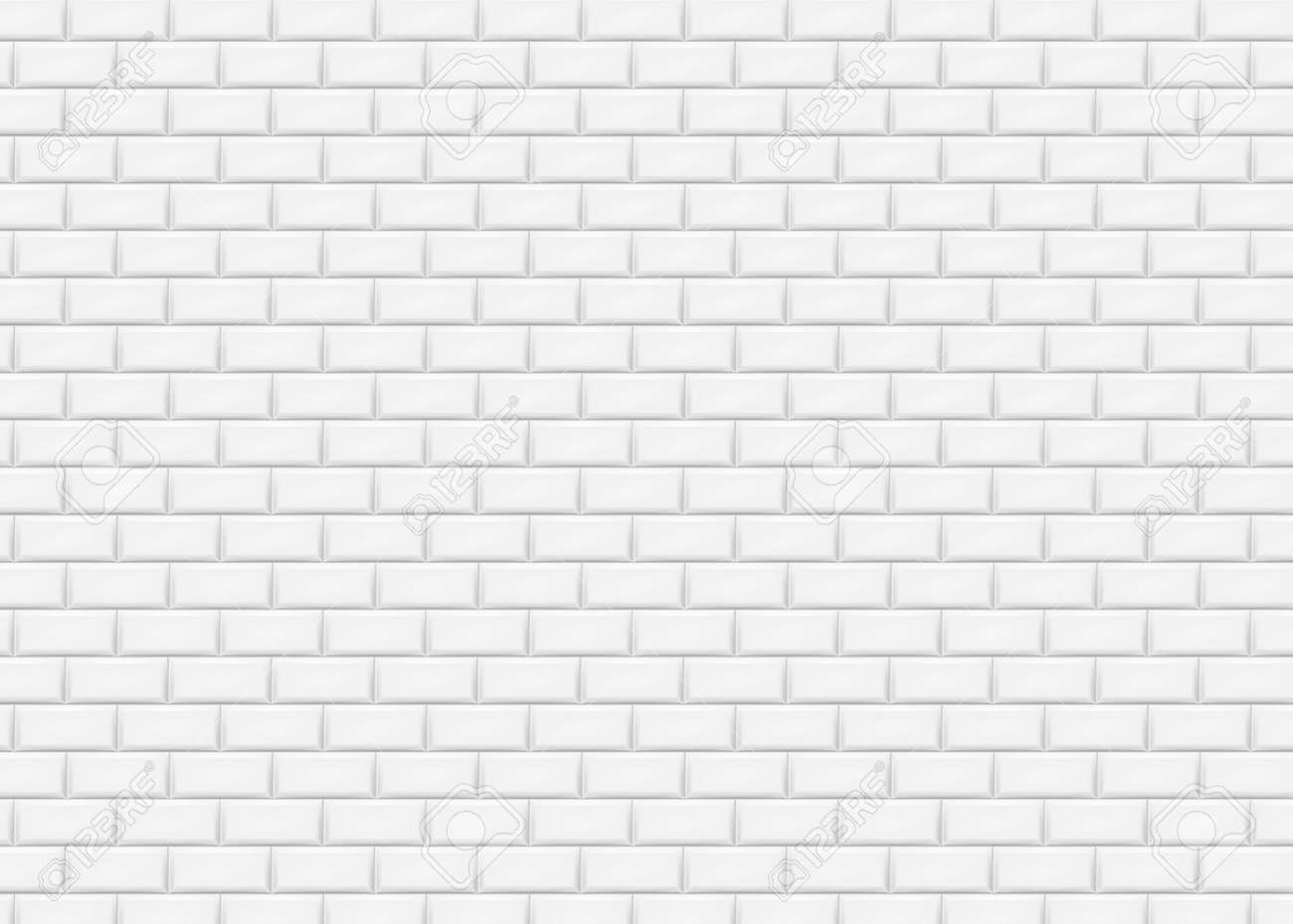 White brick wall in subway tile pattern. Vector illustration. Eps 10. - 81475810