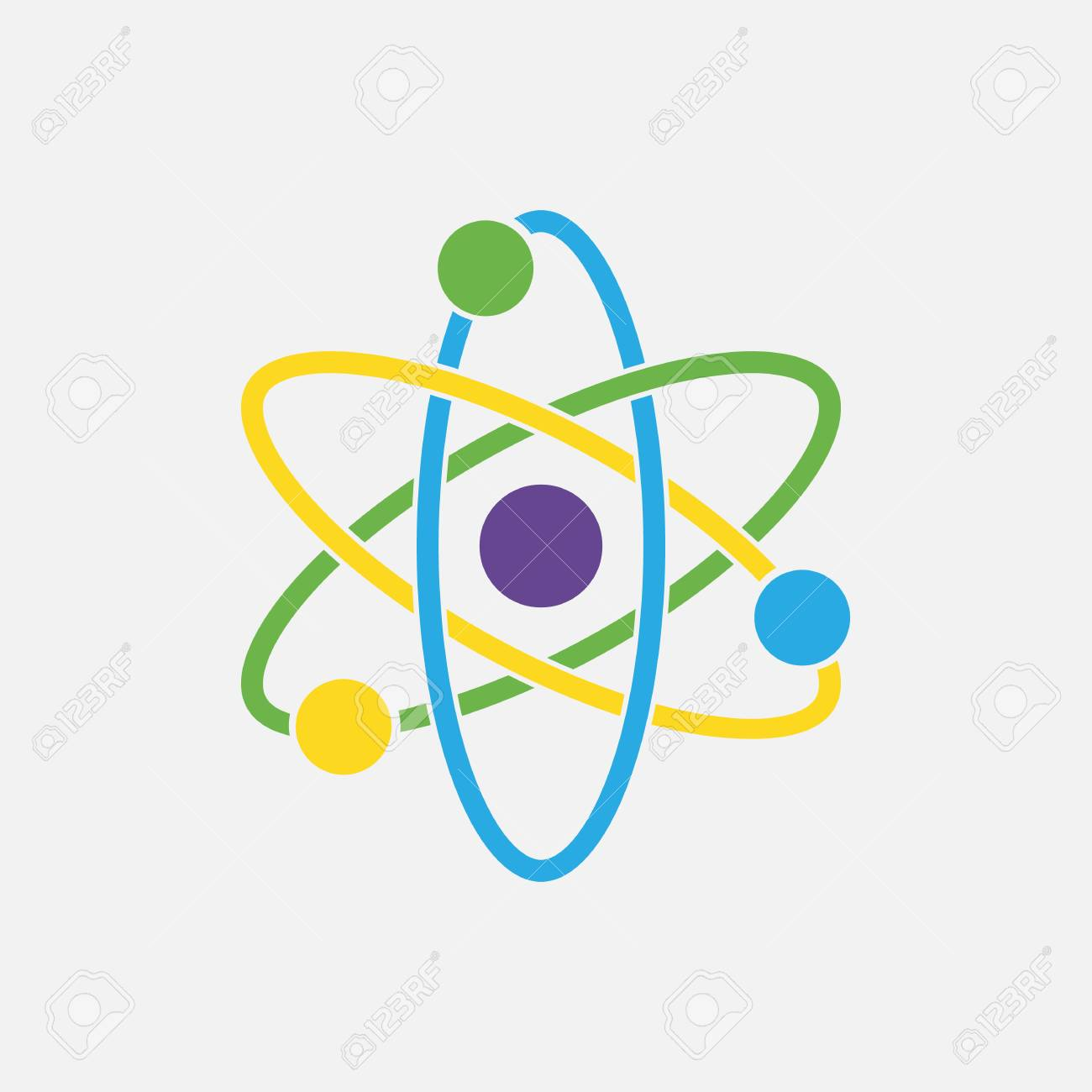 Icono De átomo Icono Nuclear Electrones Y Protones Signo De La Ciencia Icono De La Molécula Aislado Sobre Fondo Gris