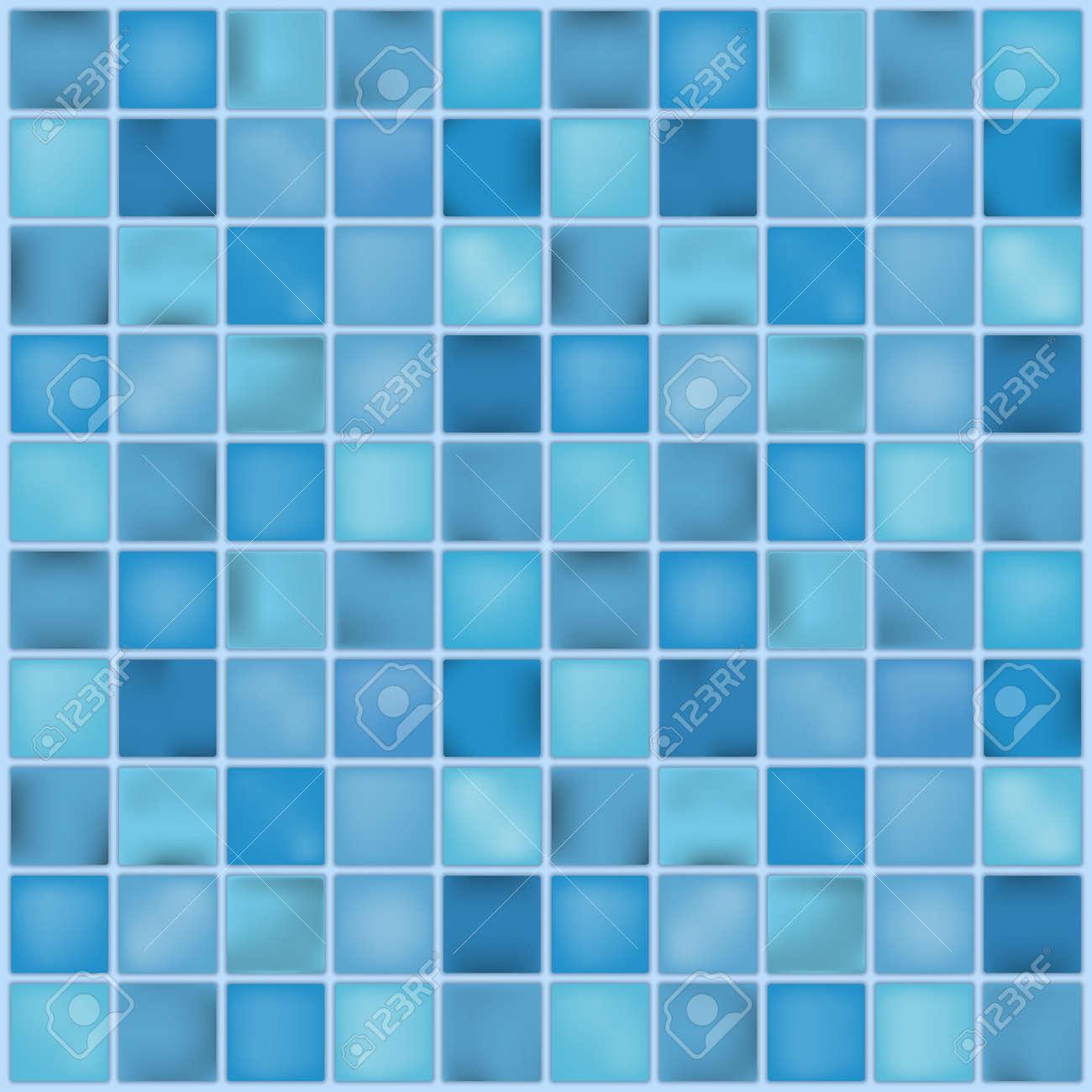 Blue ceramic tile mosaic in swimming pool. Vector illustration...