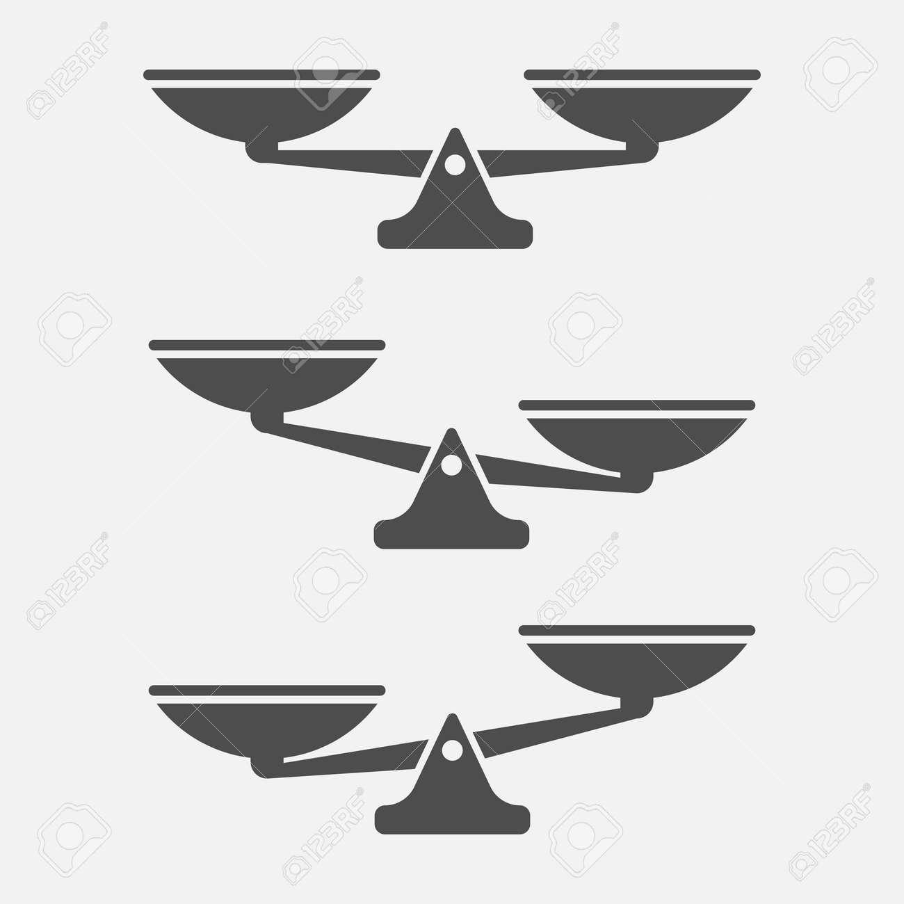 Set of scales balance isolated on white background. Vector illustration. Eps 10. - 108118732