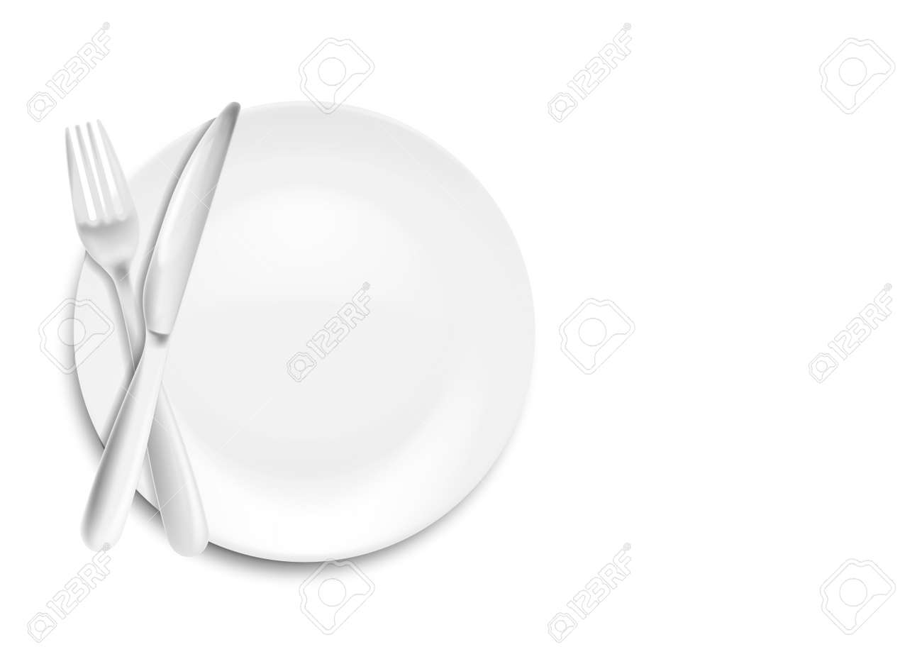 Stainless steel knife, spoon and fork with plate isolated on white background. Vector illustration. Eps 10. - 124142656