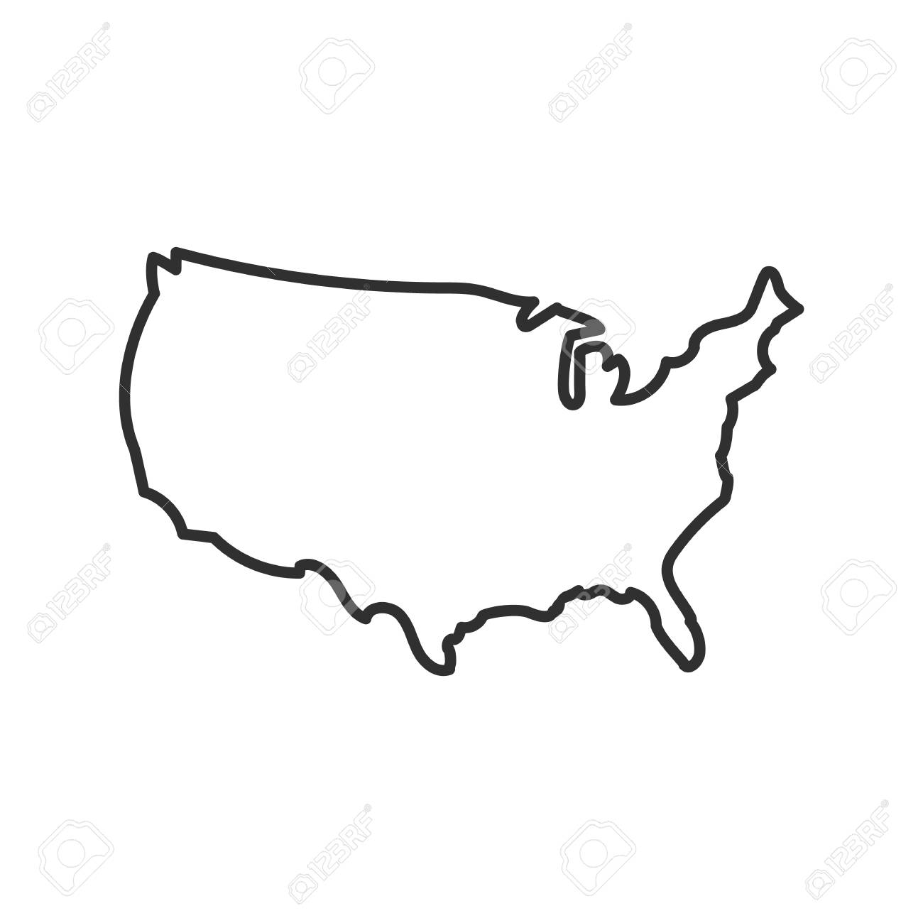 USA map icon. isolated on white background. Vector illustration...