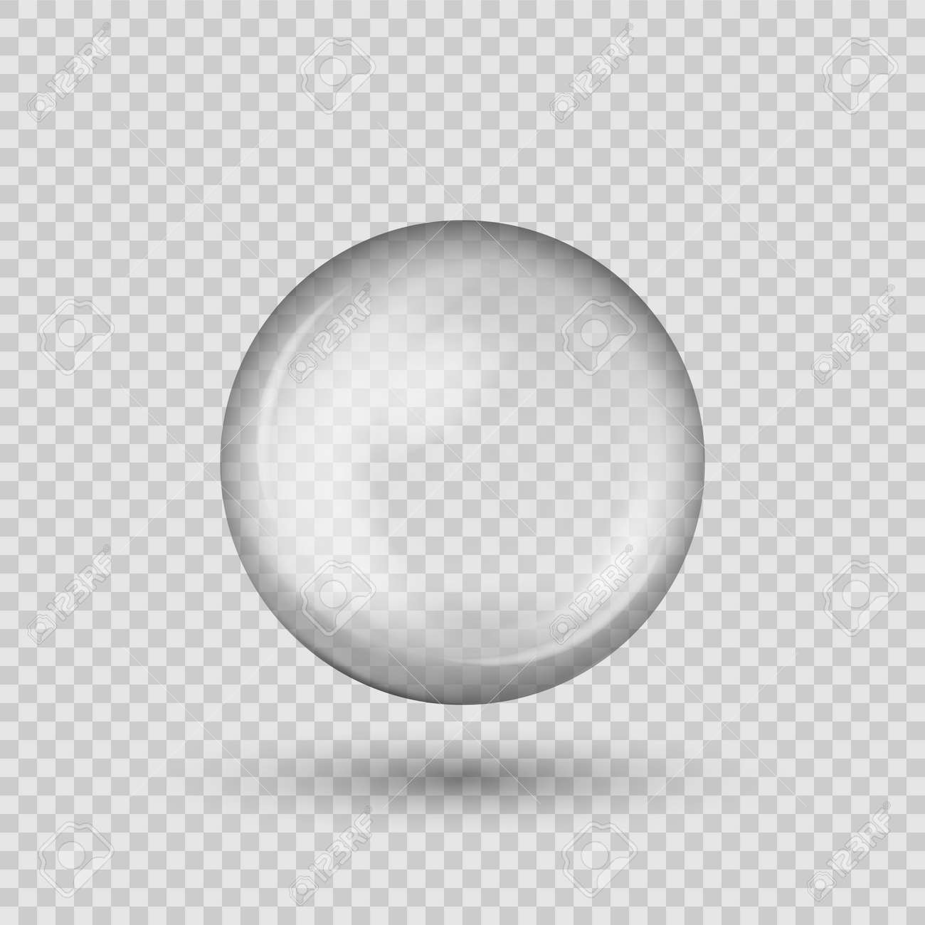 Translucent sphere with shadow on transparent background. - 146259207