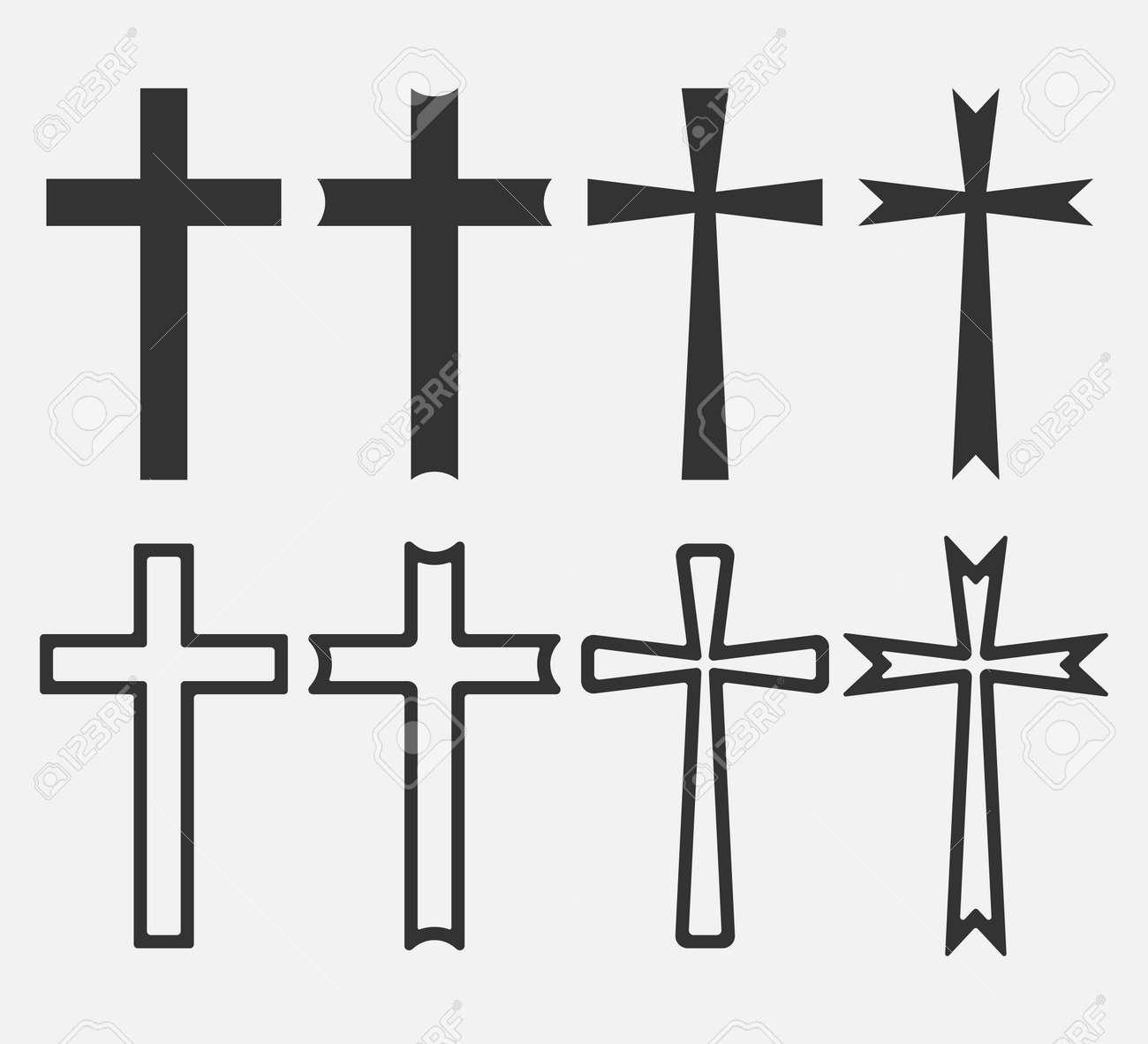 Set of Christian Cross icon app, UI. Vector illustration. - 164871899