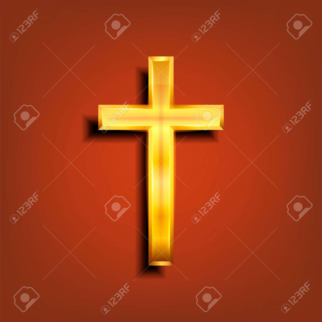 Golden Christian cross. Realistic cross isolated on background. Vector illustration. - 164872022