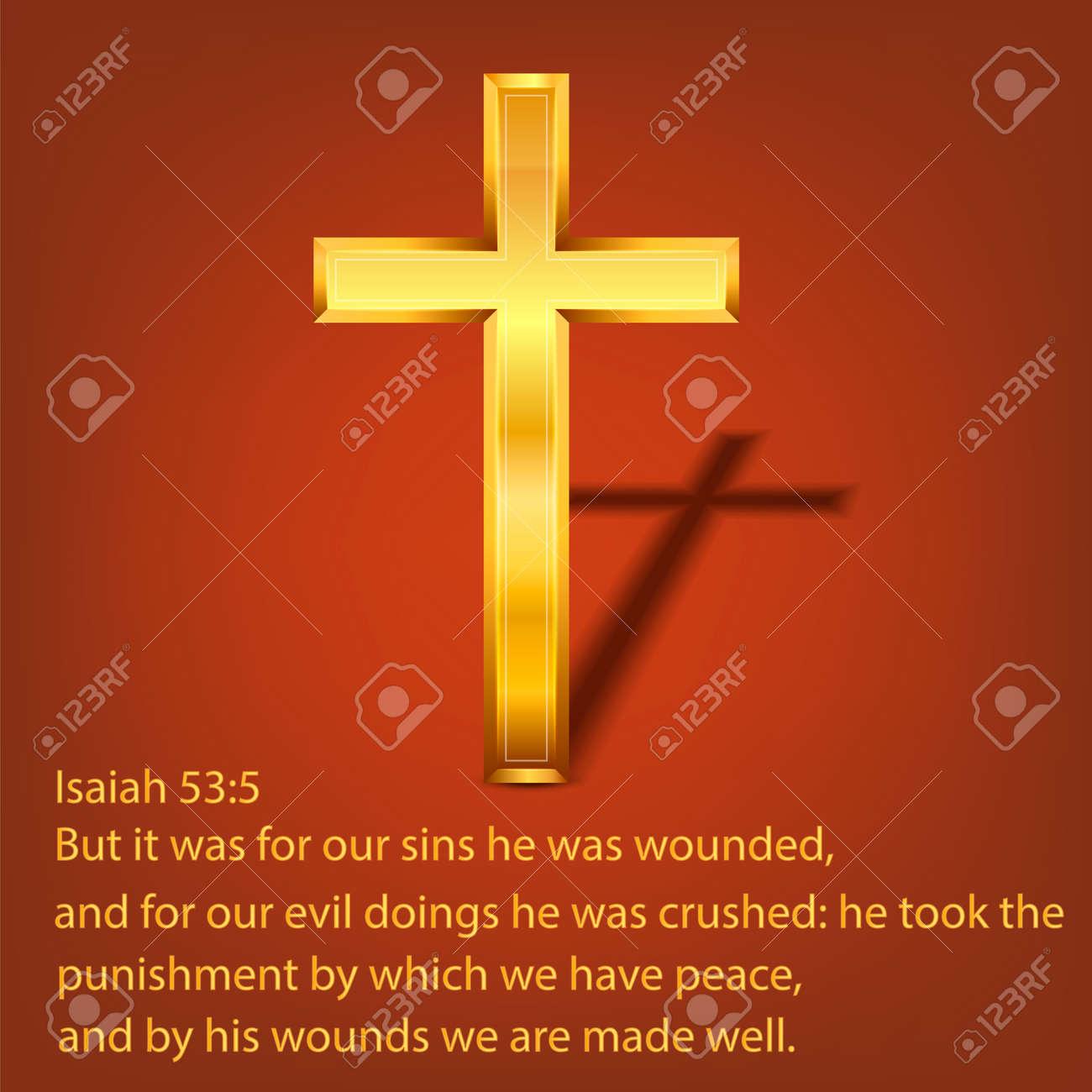 Golden Christian cross. Realistic cross isolated on background. Vector illustration. - 164872039
