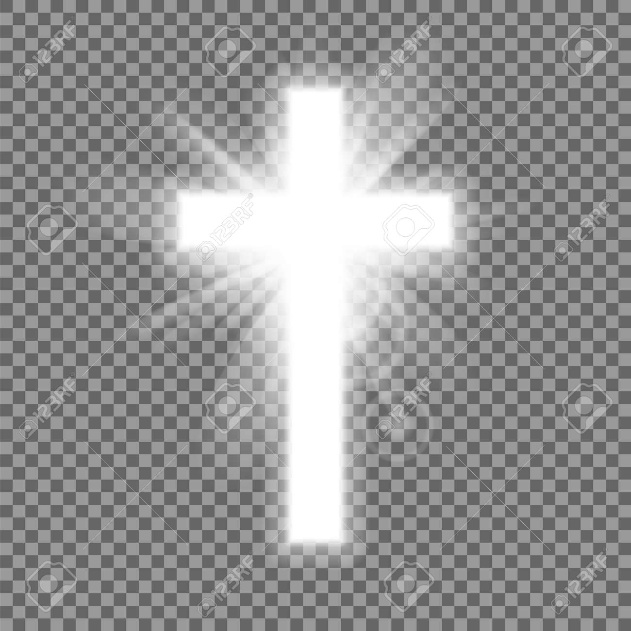 Christian heaven. Holy light glow effect. Vector shine symbol of christianity illustration. Vector illustration. - 164872079