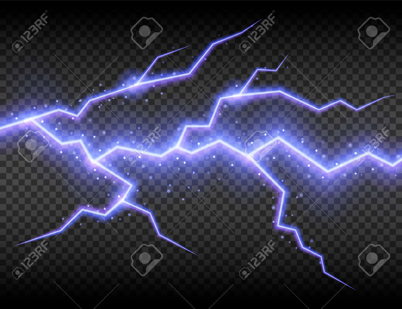 Realistic electric lightning, abstract thunderstorm. Lightning shock isolated on transparent background. Vector illustration. Eps 10. - 164800742
