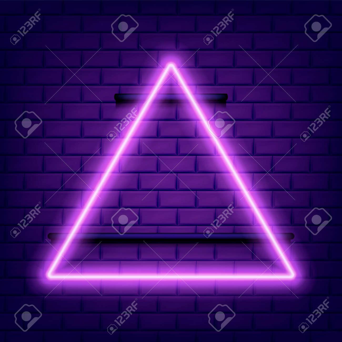 Neon glowing triangle on dark isolated. Vector illustration. - 164872118
