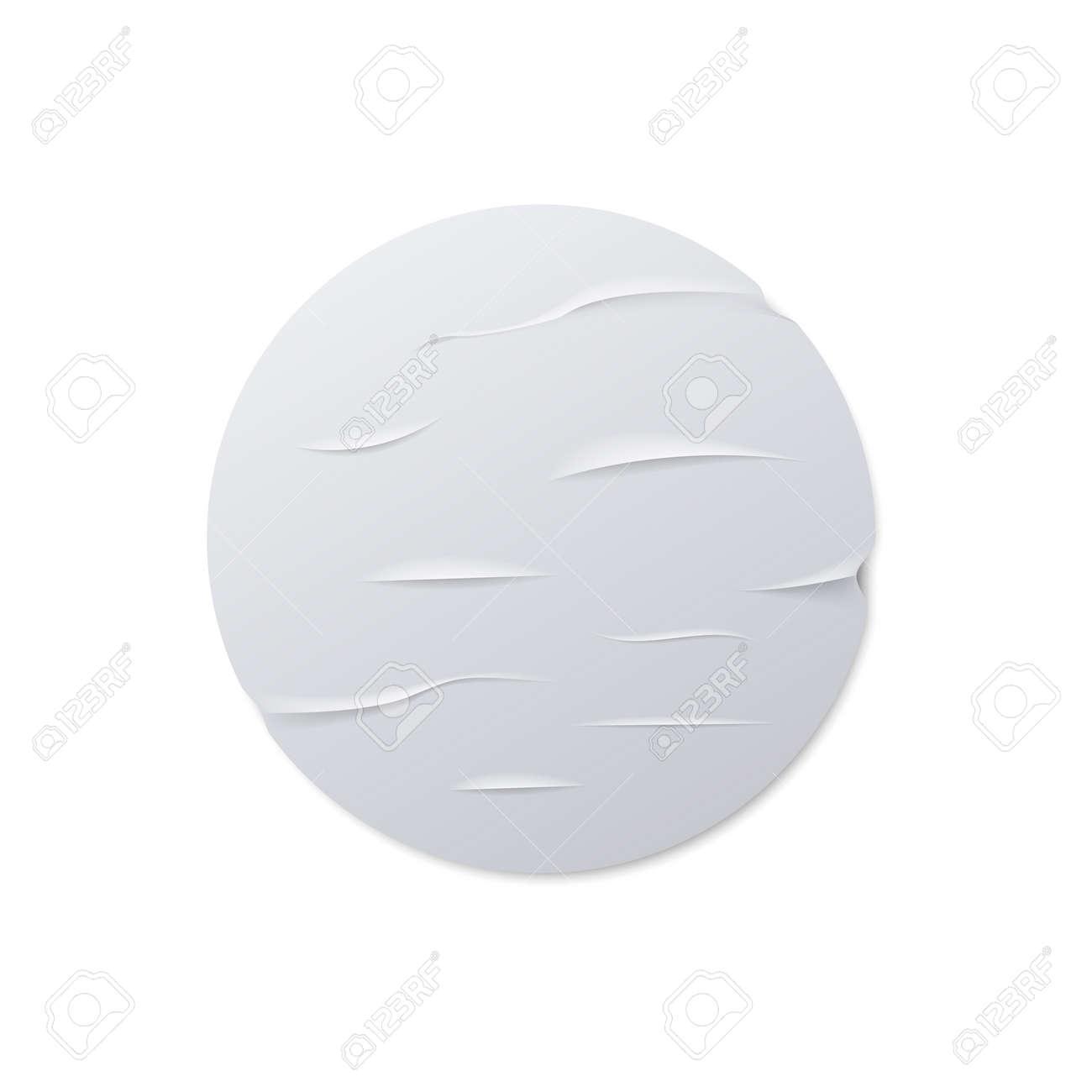 Round crumpled sticker mock up. Vector illustration. - 164872142