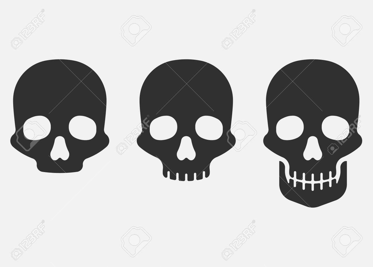 Set of skull icon isolated on white background. Vector illustration. - 166665697
