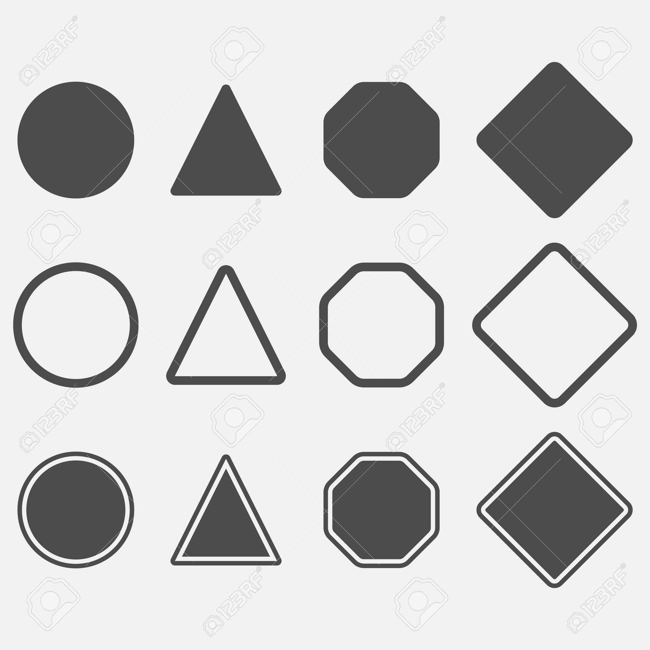 Blank danger simple icon set. Vector illustration. Eps 10. - 166654002