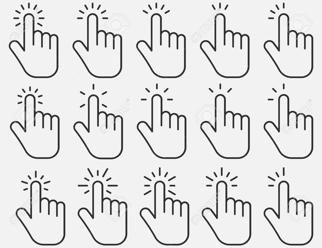 Set of hand clicking icons. Click finger pointer. Vector illustration. Eps 10. - 166653958