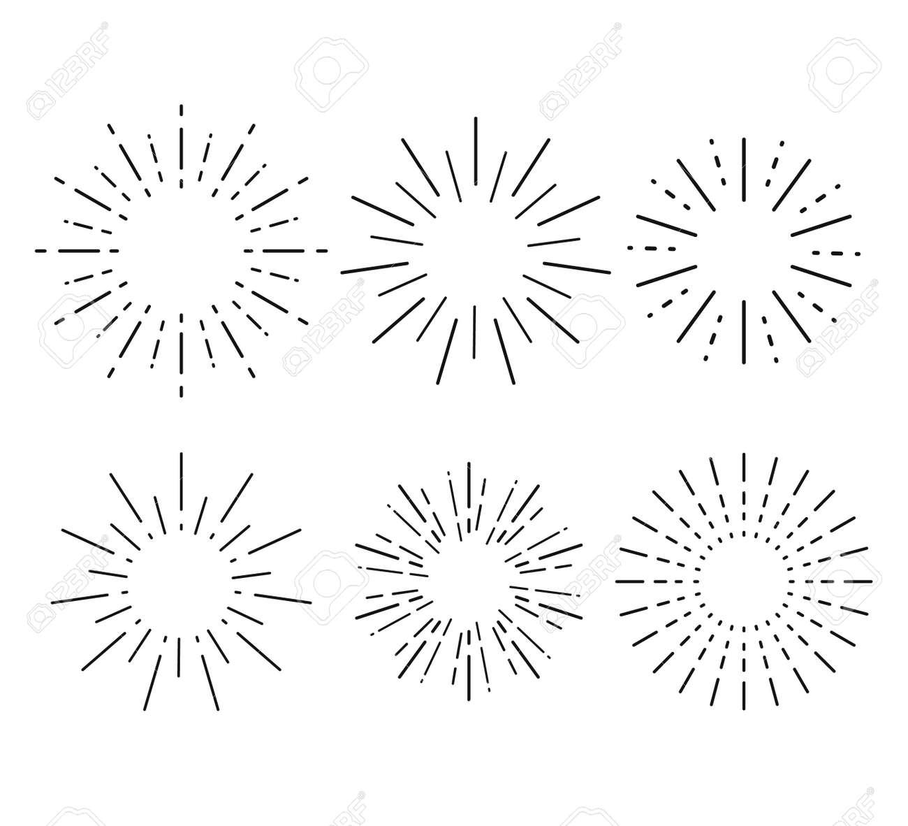 Sunburst set. Collection sunburst, star, firework explosion. Vector illustration - 166668604