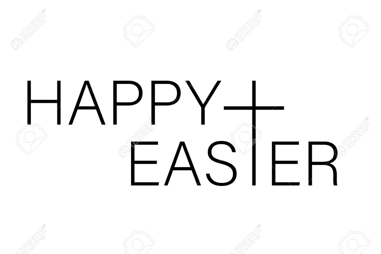 Happy Easter isolated on white background. Vector illustration - 166668894