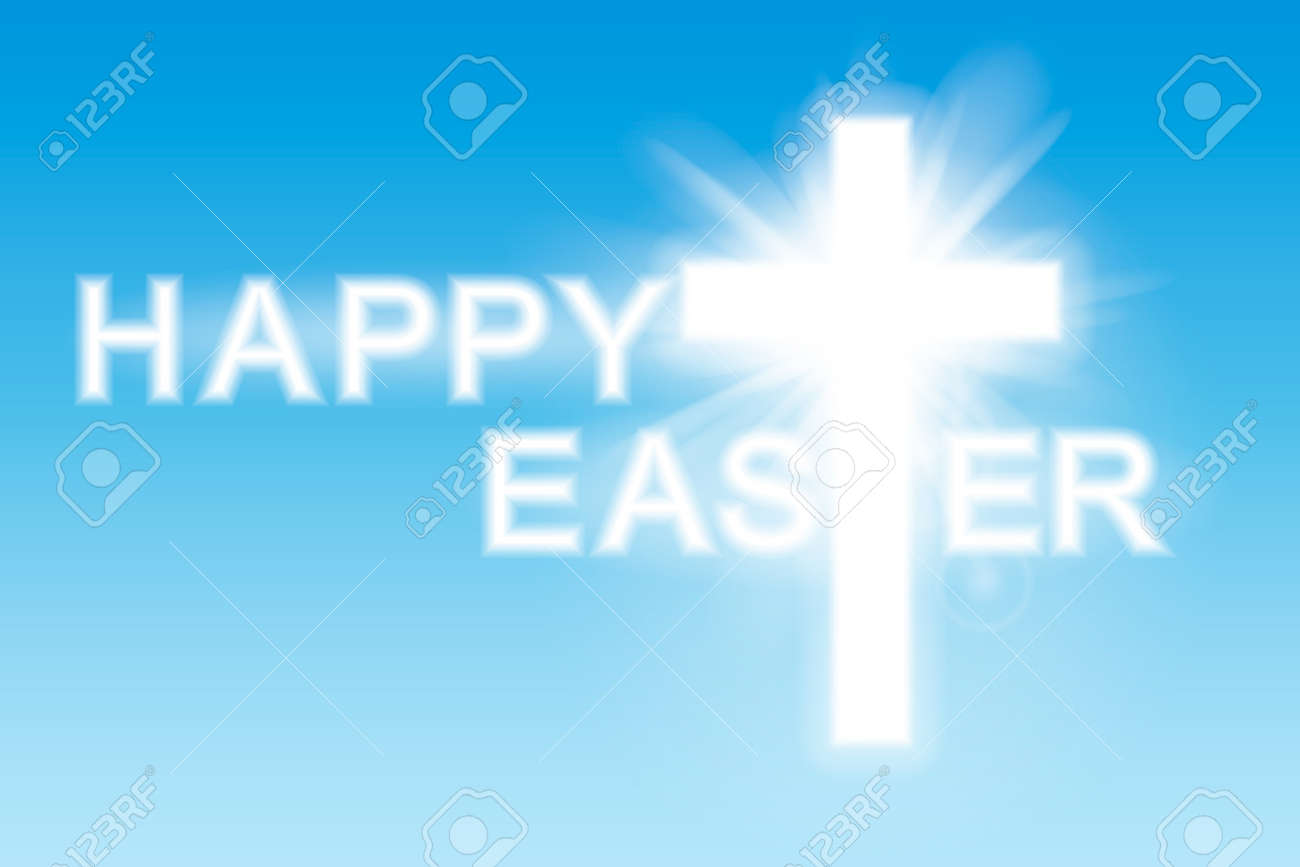 Easter background. Cross and heaven with white clouds. Vector illustration. - 166668903