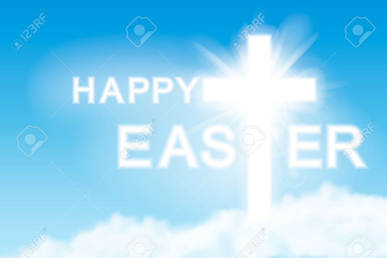 Easter background. Cross and heaven with white clouds. Vector illustration. - 166668917