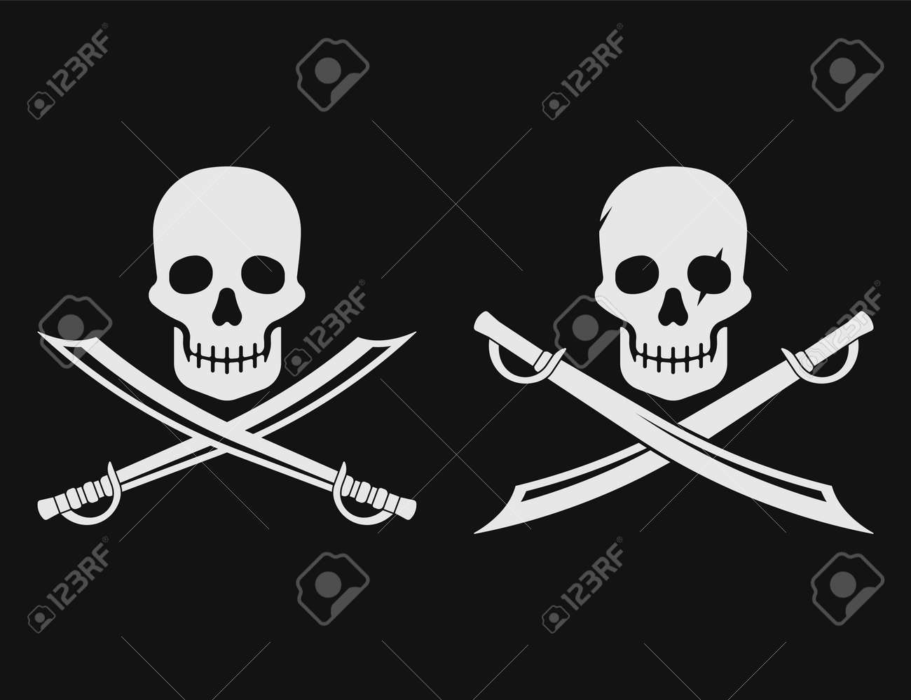 Pirate skull and blades icon. Vector illustration. - 166668930