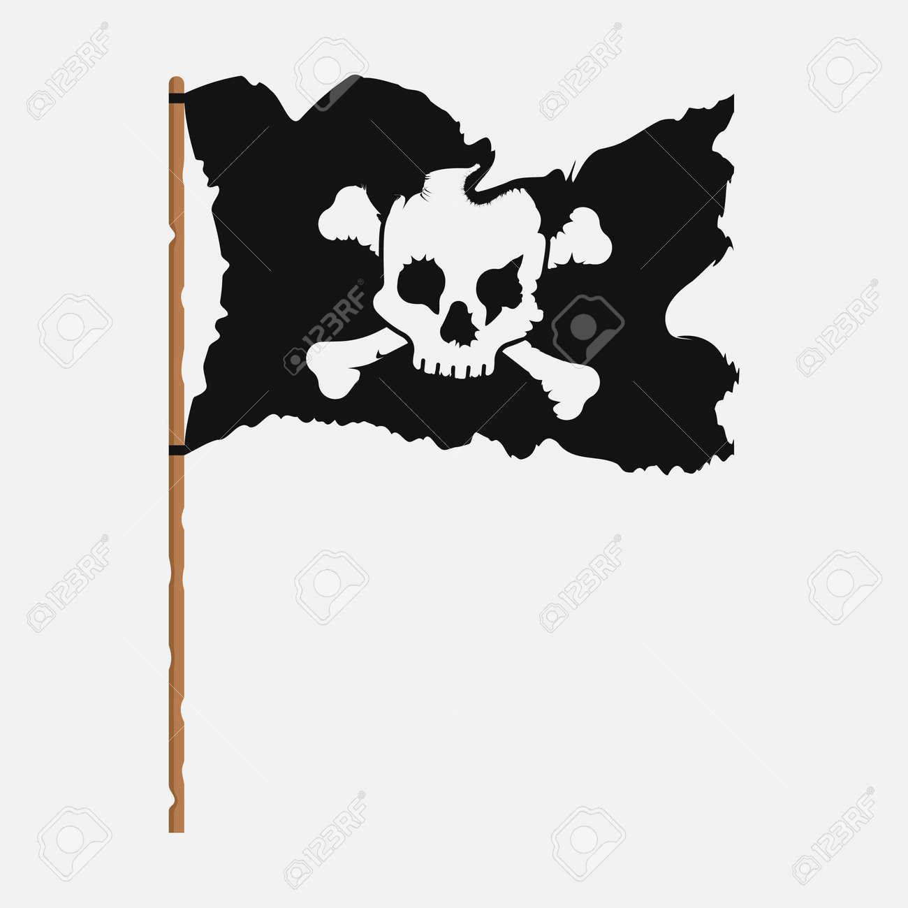 Torn pirate flag with white skull symbol. Vector illustration - 166669117