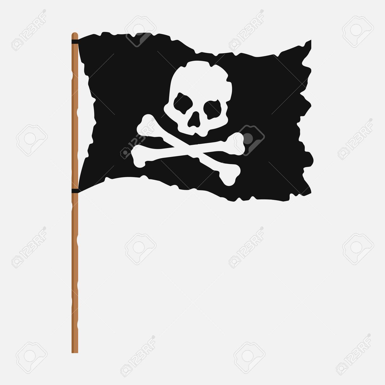 Torn pirate flag with white skull symbol. Vector illustration. - 166669126