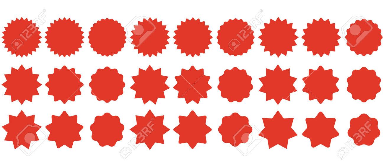 Set sunburst badges. Collection Star label. Different starburst isolated on white background. Vector illustration. Eps 10 - 166653430