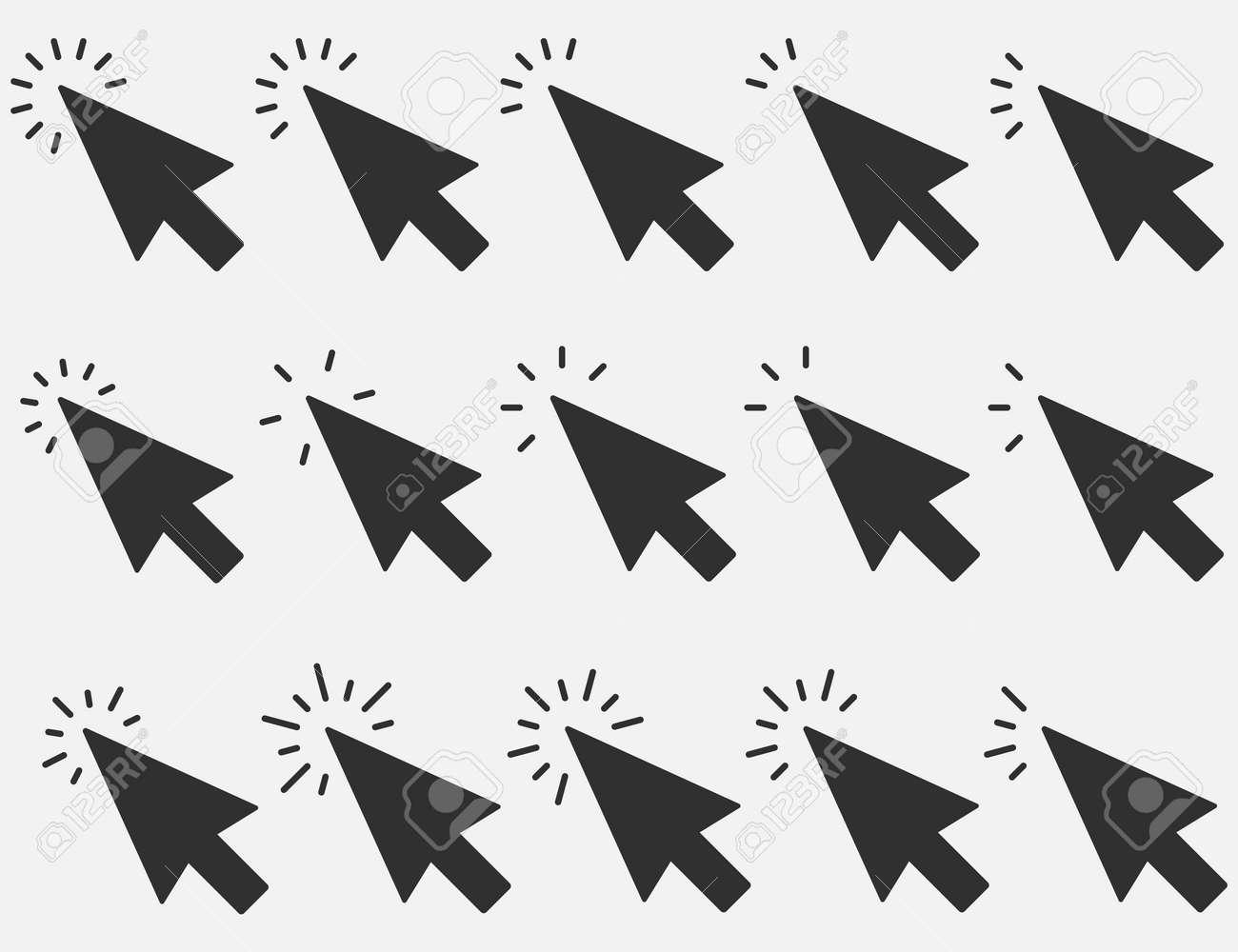 Set of Clicks icon. Cursor sign. Clicking Arrow, Mouse Cursor Symbol. Vector illustration. Eps 10. - 166654260