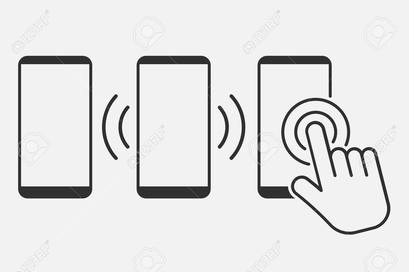 Hand touch screen smartphone icon. Click on the smartphone. Vector illustration. Eps 10. - 166653507
