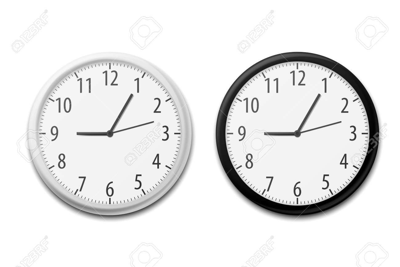Realistic Simple Round Wall Office Clock. Vector illustration. Eps 10. - 168411667