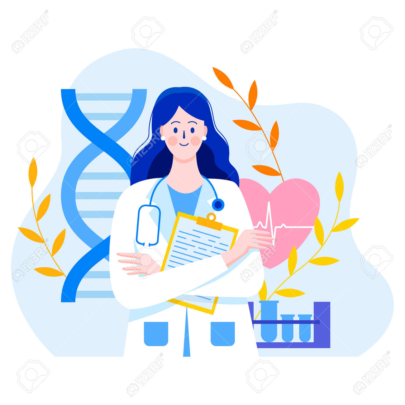 Medicine concept with a doctor in thin style. Practicing young doctor woman with documents. In the background are medical elements. Test tubes, heart, cardiogram, DNA, leaves. Consultations and diagnostics. - 152858153