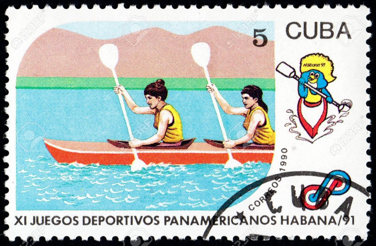 Ukraine Circa 2017 A Postage Stamp Printed In Cuba Shows Kayaking