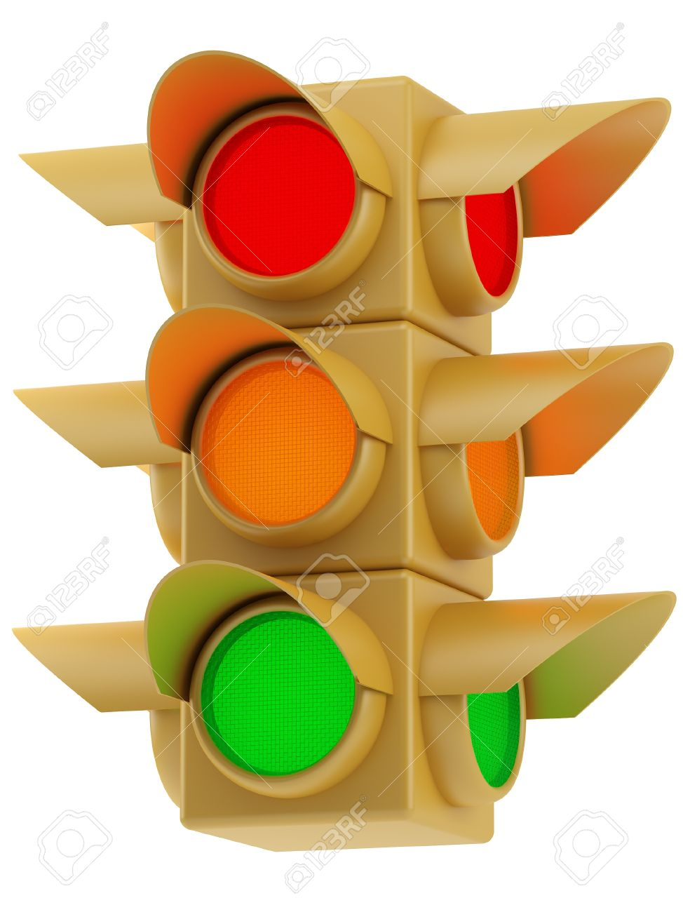 Stock Photo   Yellow Traffic Lights With Red, Yellow And Green Light Amazing Ideas