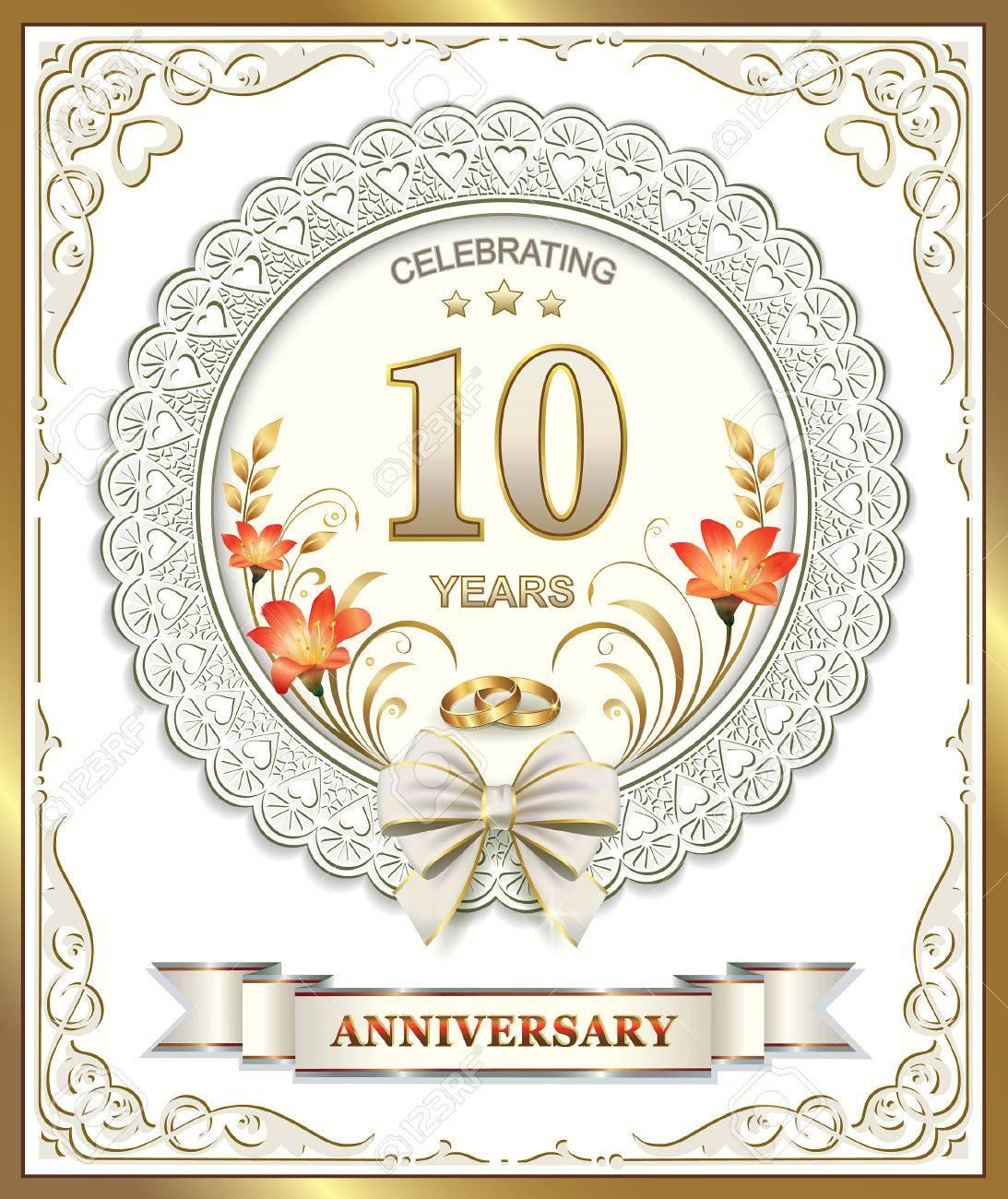Biglietto Di Auguri Con 10 Anniversario Di Matrimonio Clipart