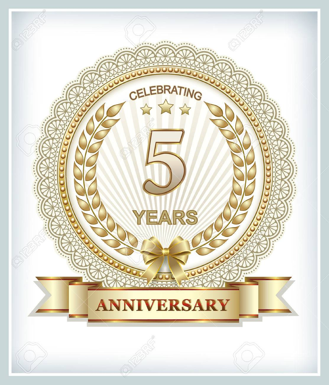 Greeting Card With 5 Wedding Anniversary Royalty Free Cliparts