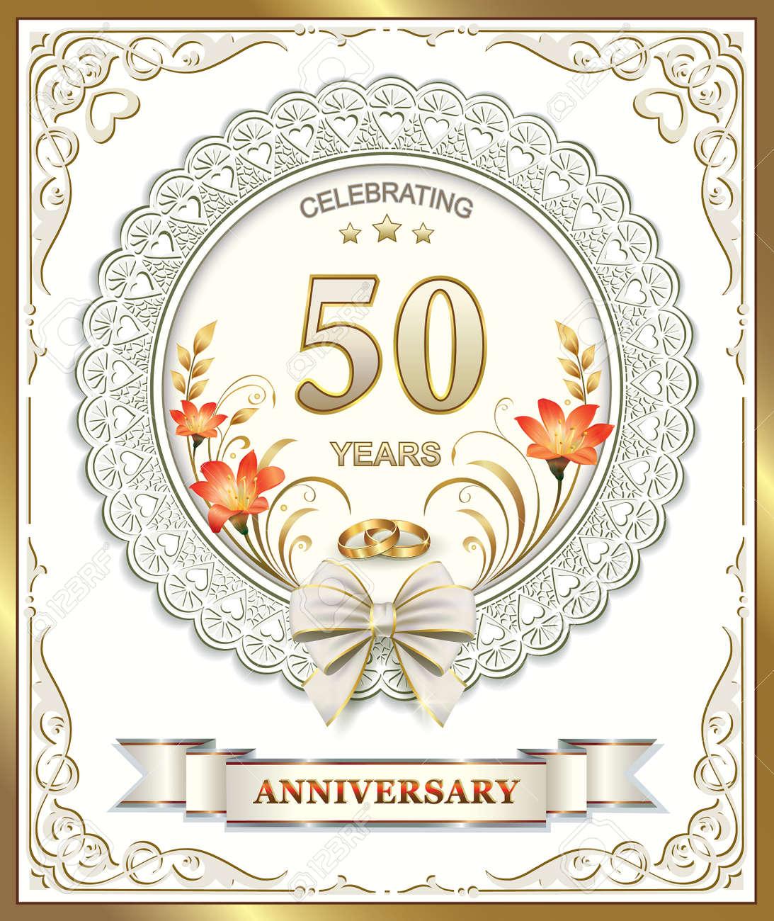 photo th wedding anniversary 50th wedding anniversary 50th wedding anniversary Stock Vector