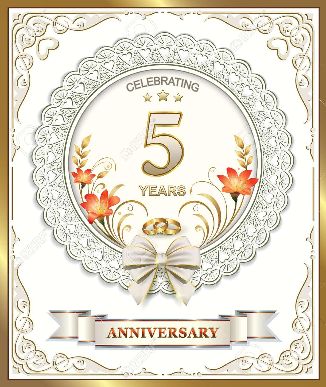 Anniversario 15 Anni Matrimonio.Vettoriale 5 Anniversario Di Matrimonio Image 41959639