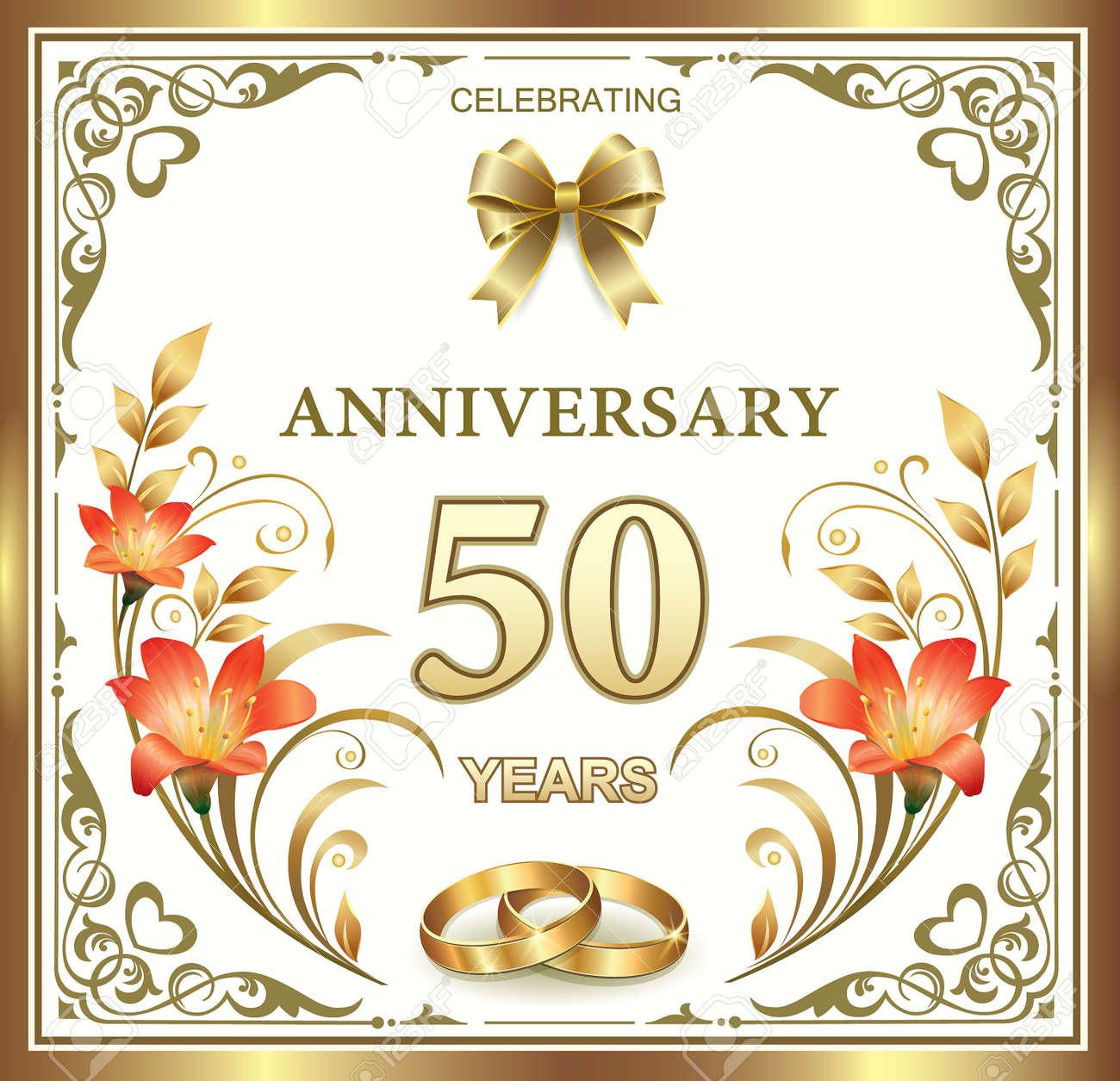 Anniversario 15 Anni Matrimonio.Vettoriale 50 Anniversario Di Matrimonio Image 42150655