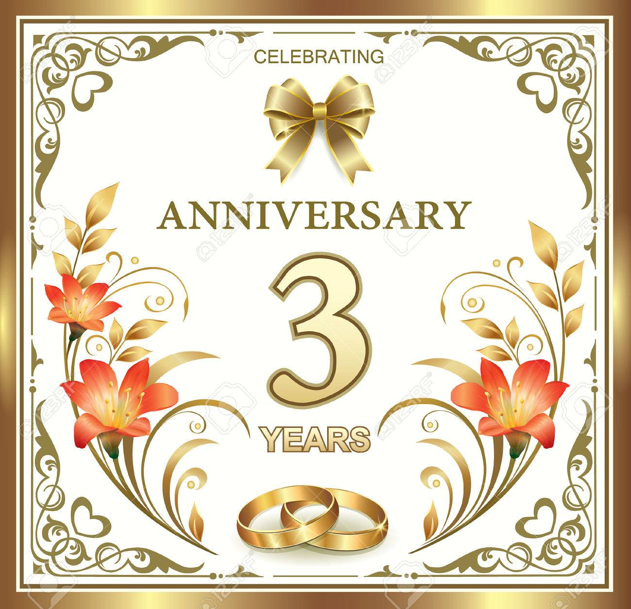 3 Wedding Anniversary In A Gold Frame Royalty Free Cliparts Vectors And Stock Illustration Image 42856531