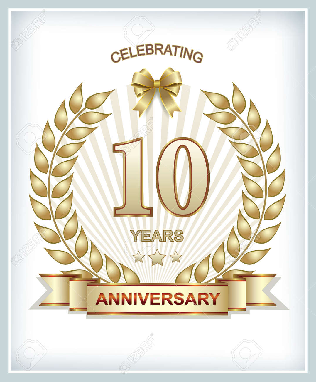 10 Jahriges Jubilaum In Gold Lorbeerkranz Lizenzfrei Nutzbare