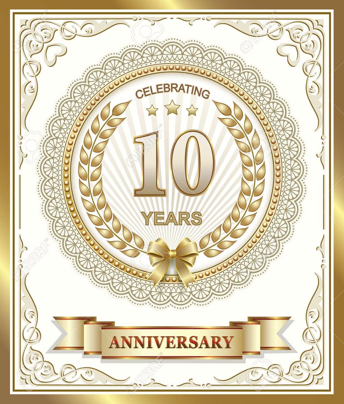 10 Jahriges Jubilaum In Gold Design Lizenzfrei Nutzbare
