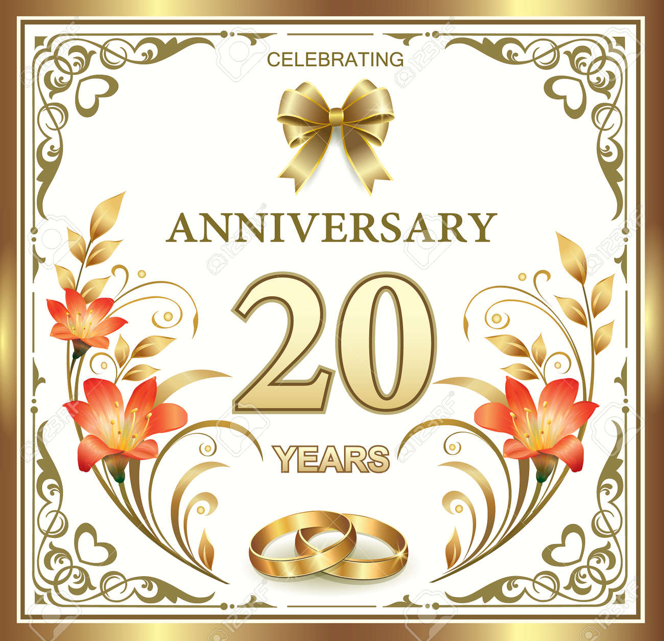 Beautiful Card With 20 Wedding Anniversary With Lilies Royalty Free Cliparts Vectors And Stock Illustration Image 44651631