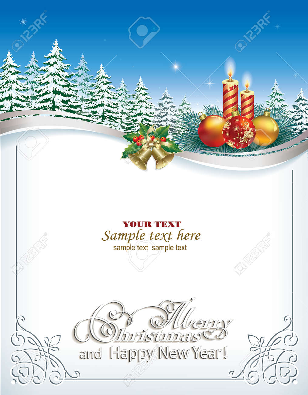 Christmas Card With Candles On The Background Of Fir Trees Royalty
