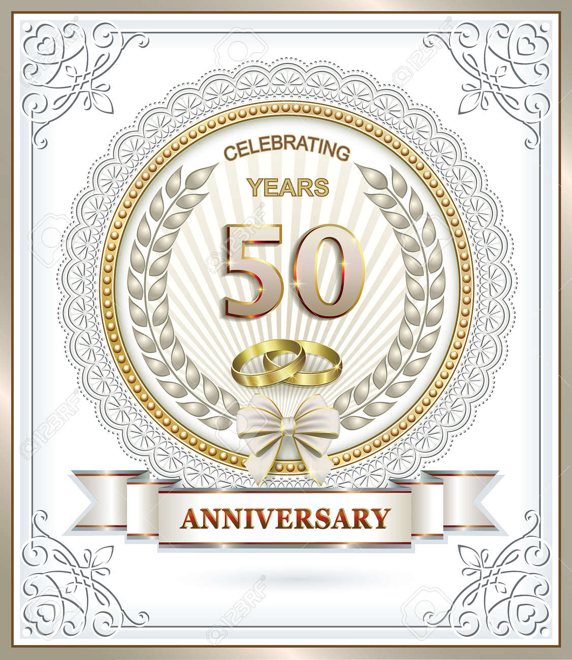Anniversaire De Mariage De 50 Ans Avec Les Anneaux Dans Le Cadre Dun Tour Ajourée