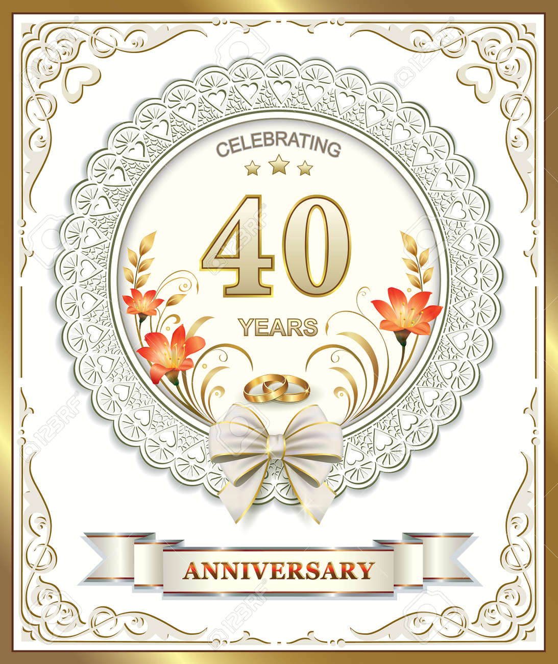 Auguri X L Anniversario Di Matrimonio.Greeting Card For 40 Wedding Anniversary With Lilies And Rings