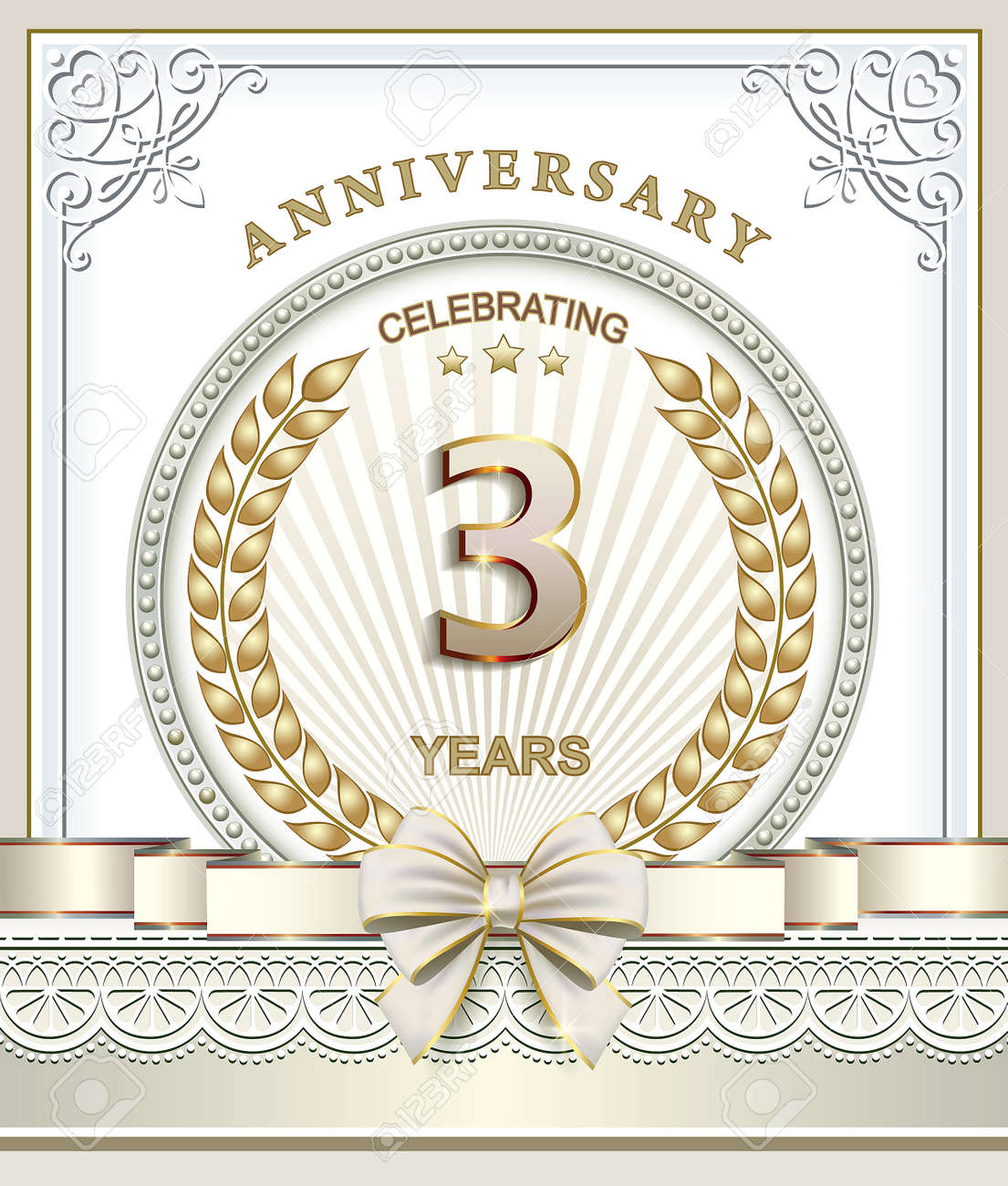 Terzo Anniversario Di Matrimonio.3 Years Anniversary In Gold Laurel Wreath Royalty Free Cliparts