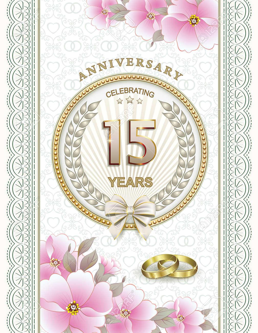 Anniversario 15 Anni Matrimonio.15th Anniversary Of Marriage Royalty Free Cliparts Vectors And