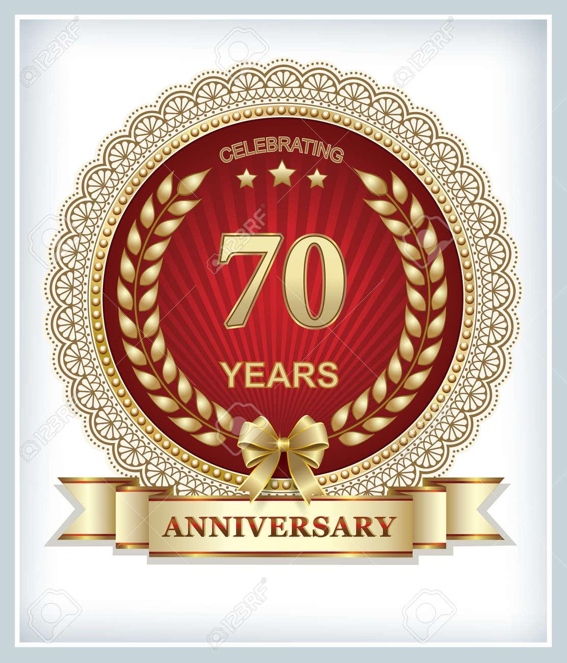70 Anniversario Di Matrimonio.Vettoriale Biglietto Di Auguri Con Il 70 Anniversario Su Uno