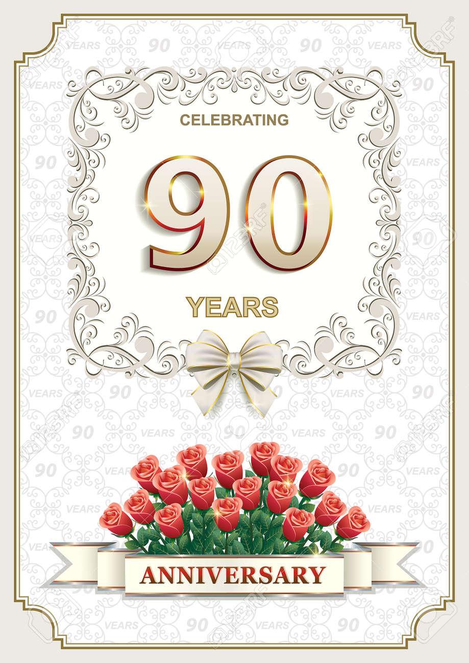 Carte D Anniversaire Avec Des Roses 90 Ans Dans Un Cadre Sur L Arriere Plan De L Ornement Clip Art Libres De Droits Vecteurs Et Illustration Image 52765663