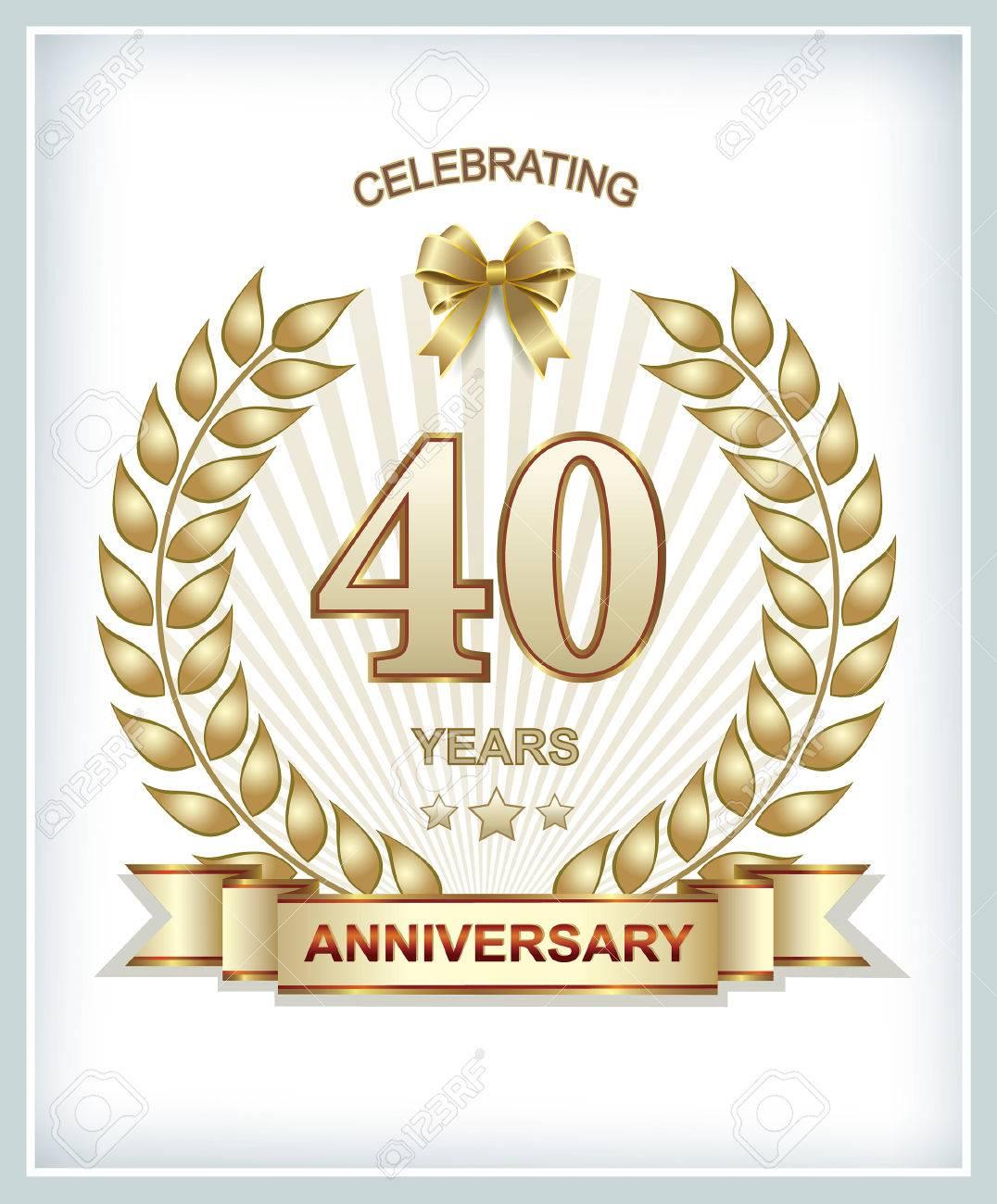 40 Jahre Jubilaum In Gold Lorbeerkranz Lizenzfrei Nutzbare