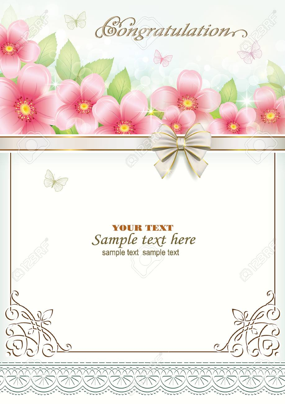 Happy Birthday With Flowers And Decorative Bow Royalty Free Cliparts