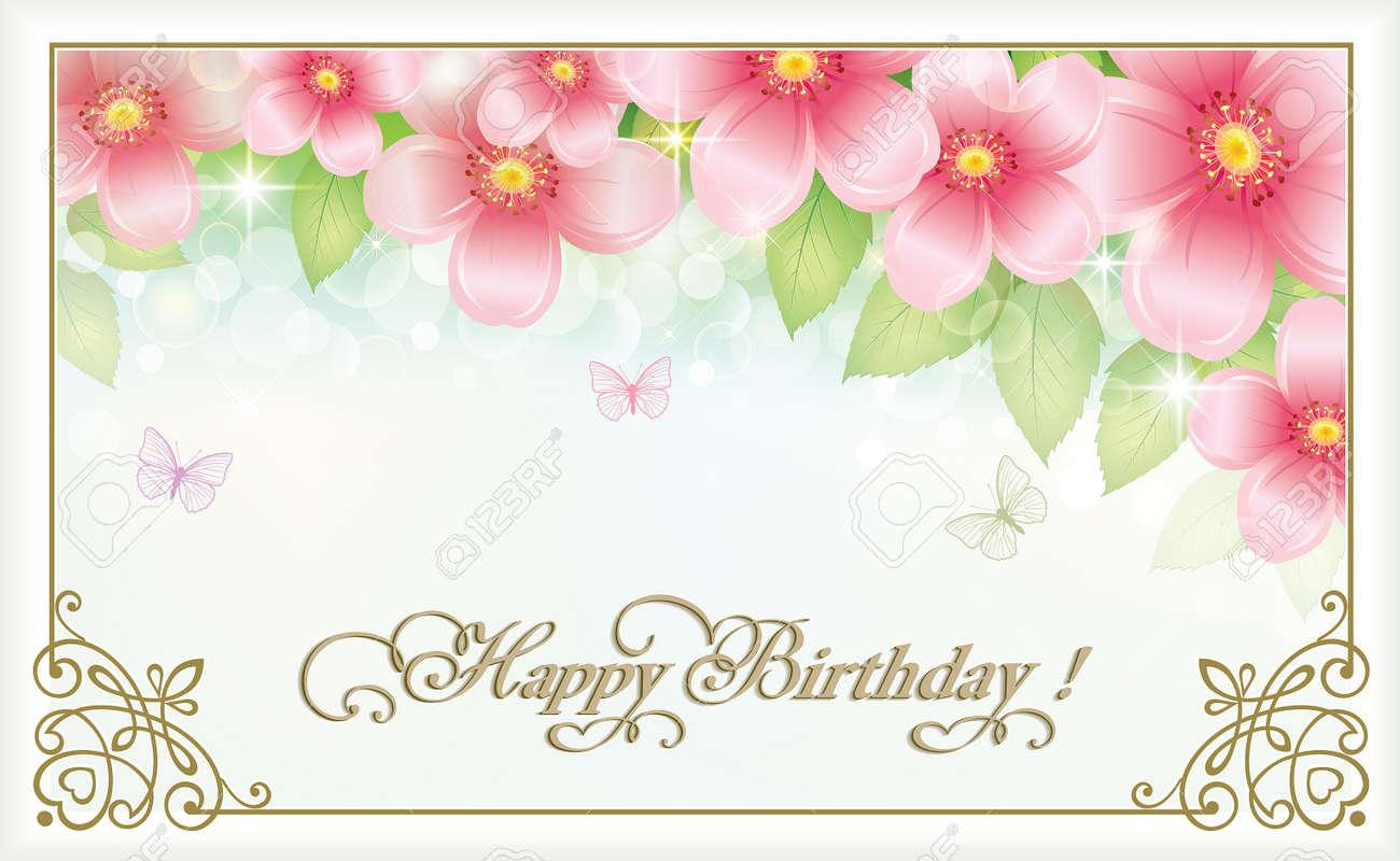 Souvent Cartolina Buon Compleanno Con Fiori E Farfalle Clipart Royalty  OA75